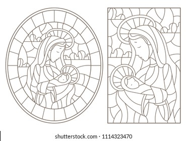 Set of contour Illustration in stained glass style on biblical theme, Jesus baby with Mary , abstract figures on sky background with clouds, a circular image and a rectangular image