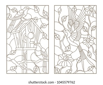 Set of contour illustrations stained glass Windows with birds, swallow on flowers background and a pair of birds at birdhouse, dark contours on white background