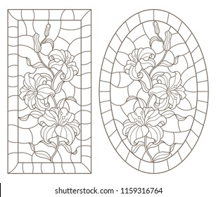 A set of contour illustrations of stained glass Windows with lilys in frames, dark contours on a white background, oval and rectangular image