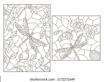 Set of contour illustrations in stained glass style with flowers and dragonflies, dark outlines on white background