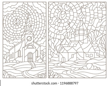 Set of contour illustrations in stained glass style with Christian churches on landscape background, dark contours on white background