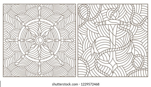Set of contour illustrations of stained glass Windows on the marine theme, ship anchor with rope and steering wheel on the background of waves, dark contours on a white background