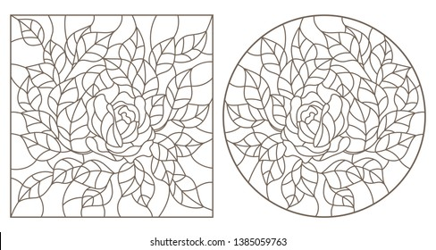 Set of contour illustrations of stained glass Windows with flowers, roses and leaves , dark contours on white background