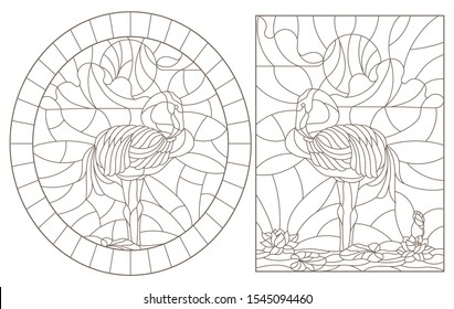 Set contour illustrations of stained glass with flamingos  on a pond on a background sky and sun, dark contours on a white background