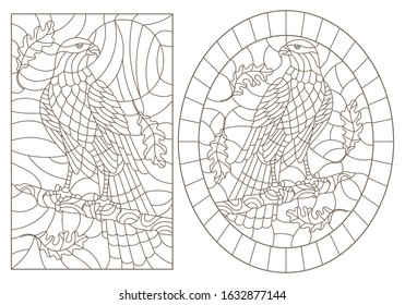Set contour illustrations of stained glass with birds  hawk on a tree branch, dark outlines on white background