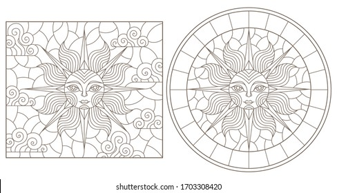 Set contour illustrations of stained glass sun with face, round and square image, dark outline on a white background , isolate