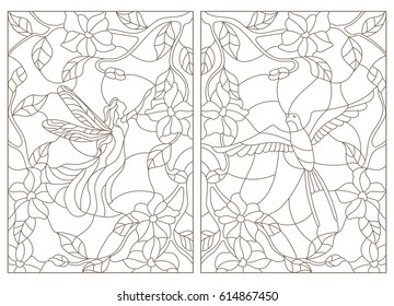 Stained Glass Pattern Birds Stock Illustrations Images Vectors
