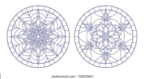 Set contour illustrations of stained glass with snowflakes in the framework ,round image