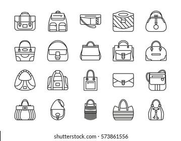 Set of contour line icon. Different women bags. Vector illustration