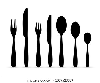 Set of the contours of the cutlery. Ready to use elements. Spoon, knife, forks. Vector illustration. Isolated on white background.