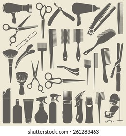 Set of Contours Hairdressing Supplies: combs, scissors, hair dryer etc.