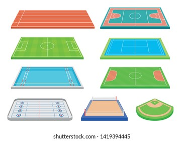 Set of contours of popular sports courts. Vector illustration on white background.