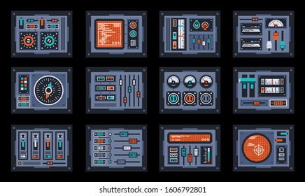 Set of control panel elements for the spaceship. Dashboard devices for the cockpit. Vector illustration.