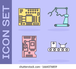 Set Conveyor belt with cardboard box, Printed circuit board PCB, Electronic computer components motherboard digital chip and Industrial machine robotic robot arm hand factory icon. Vector