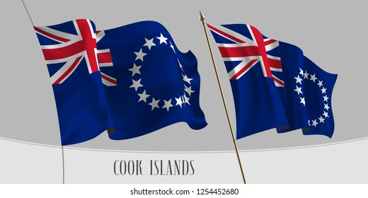 Set of Cook islands waving flag on isolated background vector illustration. Red cross and stars of Cook Islands wavy horizontal realistic flag on pole mockup