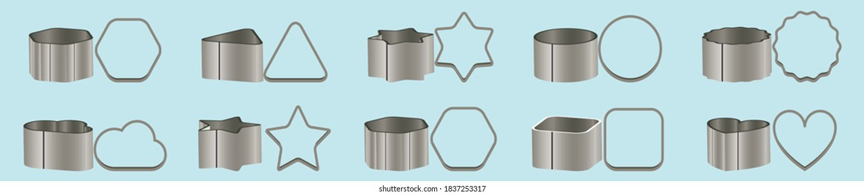 set of cookie cutters cartoon icon design template with various models. vector illustration isolated on blue background