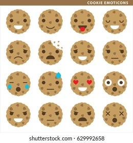 Set of cookie emoticons with sixteen different expressions.