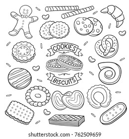 Set of cookies and biscuit sketch  isolated  in black isolated over white background