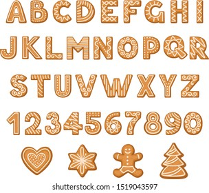 Set of cookies in the form of letters and numbers. Vector illustration.