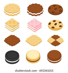 Set of cookies - isometric style
