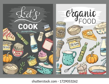 Set of cooking cards with cooking utensils, food and lettering. Let's cook, Organic food
