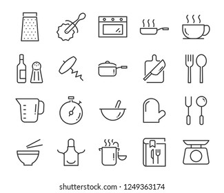 set of cooking icons, such as plate, kitchenware, spoon, oven, microwave, pot