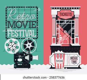 Set of cool detailed creative web vertical banners on retro movie cinema festival and film motion picture entrance admission tickets purchasing with beautiful projector, box office, popcorn and more