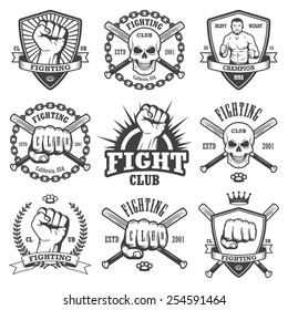 Set of cool fighting club emblems, labels, badges, logos. Monochrome graphic style