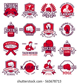 Set of cool fighting club emblems, labels, badges vector element. Red aggressive kick hand clenched fist and sportsmen silhouette fighter club logo