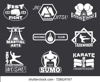 Set of cool fighting club emblems labels fight badges punch sport fist karate vector illustration.