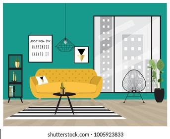 Set of cool interior design house furniture. Luxury and trendy living room background illustration.