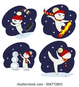 Set of cool snowman. He skiing, boards, play hokey, ice skating, make snowman. Winter fun concept illustration.Figure of snowman can be use separately without purple background . Vector illustration.