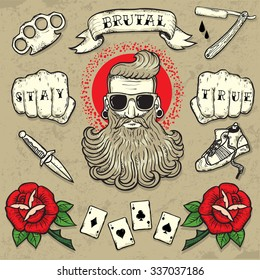 Set of Cool vector clip-art on the theme of Brutal Men. Tattoo-art design. New traditional tattoo style. Hand-drawn vector images. Good for printing on t-shirt. Easy to edit. EPS8 file.Tattoo font.