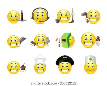 Set of cool yellow smiley face different professions