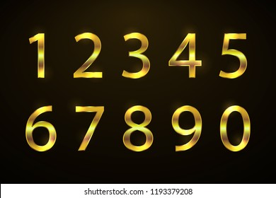 Set copper numbers from 1 to 0 for anniversary, new year logo celebration signs. Bronze style. Gold sparkling texture. Numbers with golden glitter effect on black background. Vector illustration.