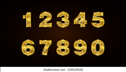Set copper numbers 1 2 3 4 5 6 7 8 9 0 for anniversary, new year celebration signs. Bronze style. Gold sparkling texture. Numbers with golden glitter effect on black background. Vector illustration.
