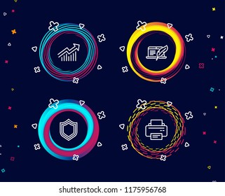 Set of Copyright laptop, Security and Demand curve icons. Printer sign. Writer device, Protection shield, Statistical report. Printing device.  Circle banners with line icons. Gradient colors shapes