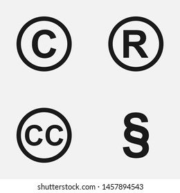 Set of copyright, registered trademark, patent and creative commons symbols vector icons.