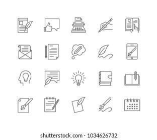 Set of Copywriting outline icons isolated on white background.