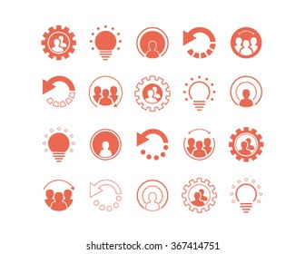 Set of coral icons, logos, design elements and business web buttons in vector format.