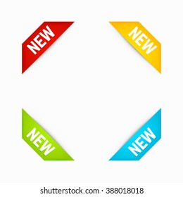 Set of Corner New Ribbons in Different Colors. Corner banners. Vector.