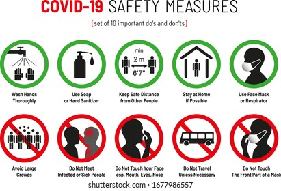 Set of Corona Virus COVID-19 Safety Measures and Precautions Warning Signs - How to Protect Yourself and Others - What To Do Signs - Infographics Poster Suitable for Print
