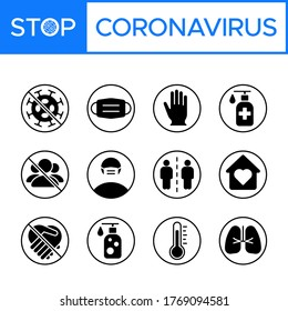 Set of coronavirus (COVID-19) prevention, safety measures, and precautions warning signs. Protect yourself and others. infographics, poster, icon set, pictogram.