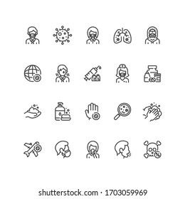 Set of coronavirus icons in line style. For your design, logo. Vector illustration.