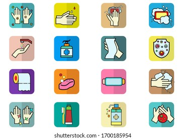 Set of Coronavirus Protection Related Vector icon.In closes such icons as cleaning,protect covic-19,hand dryer,soap,wipe,sanitary and more.Vector health and Prevent disease concept.