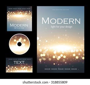 Set of corporate bokeh lights templates. Abstract brochure design. Vector illustration.
