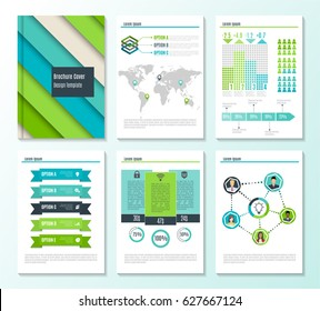 Set of corporate business stationery brochure templates with infographics elements. Abstract geometric background for flyer, report, presentation or business document design. Vector illustration