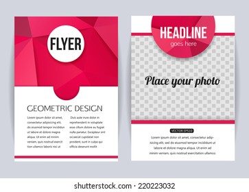 Set of corporate business stationery templates. Abstract brochure design. Modern back and front flyer backgrounds. Vector illustration.