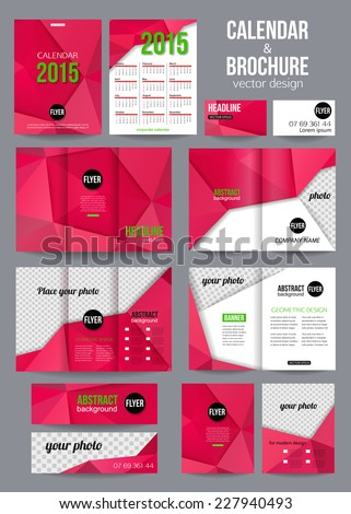 set corporate business stationery templates abstract stock vector
