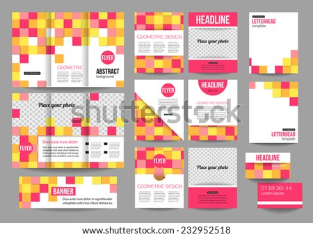 set corporate business stationery templates calendar stock vector